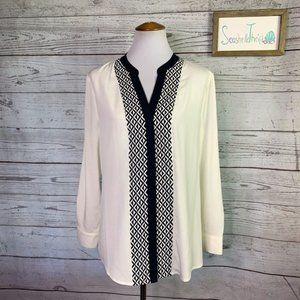 NWT Ivanka trump ivory navy print pleat shirt L